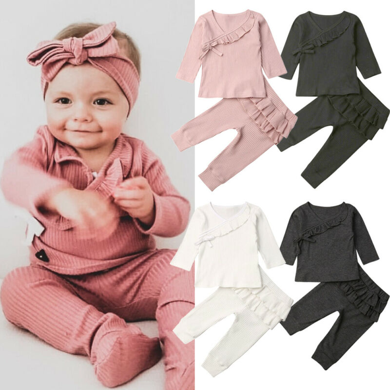 0-18 Months Newborn Outfits Baby Girl Autumn Clothes Set Solid Pink Gray Black White Infant Suits Casual Baby Boys Clothing 2020