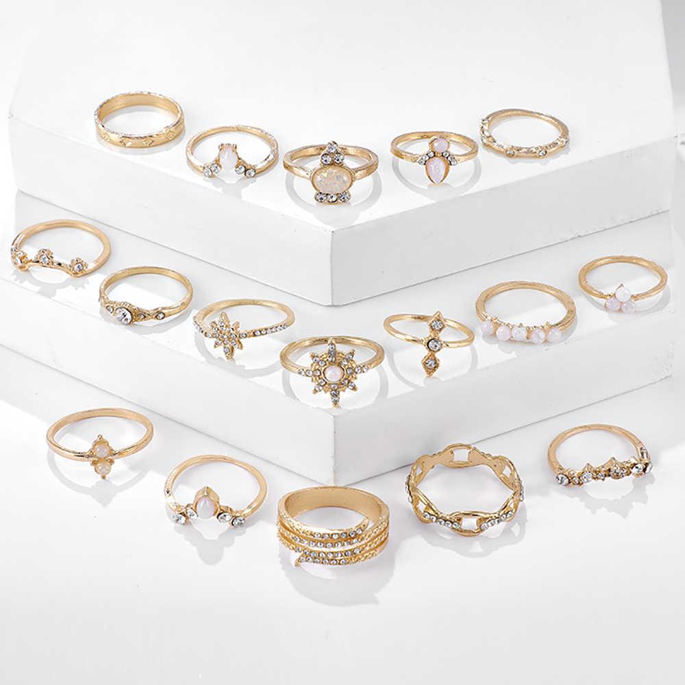 Женский комплект колец в стиле бохо, винтажные золотистые Регулируемые кольца с геометрическим узором и кристаллом солнца и опалом, свадебный подарок на день Святого Валентина