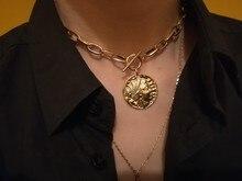 TRENDY WOMEN NECKLACE GOLD COLOR PLATING BIG PENDANT T BAR CHOKER NECKLACE FOR WOMEN vintage bar choker necklace for women