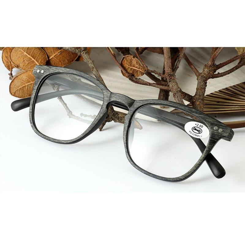 OLNYLO Square Imitation Wood Reading Glasses For Women&Men Clear Lens Presbyopia Eyeglasses Hyperopia Eyewear+1.0+1.5+2.0...+4.0