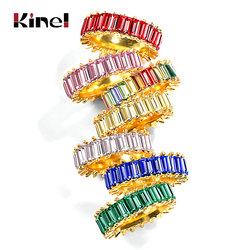Kinel 2020 moda 3A sześcienny pierścionek z cyrkonią dla kobiet czeski kolorowy pierścień tęczy kobieta Diy komunikat pierścionki biżuteria ślubna