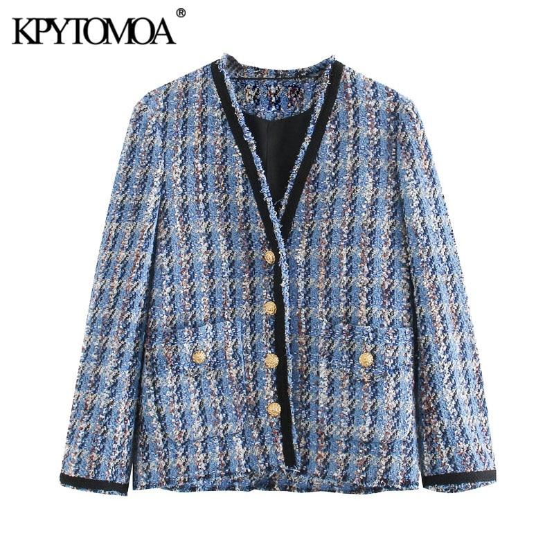 KPYTOMOA Women 2020 Fashion Pockets Frayed Trims Tweed Jacket Coat Vintage V Neck Long Sleeve Female Outerwear Chic Tops