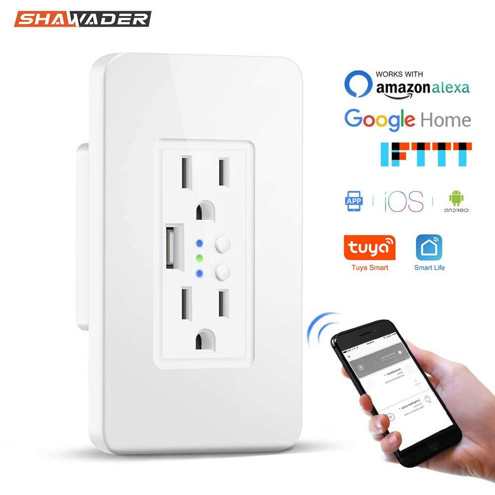 Смарт Wi-Fi настенные розетки США электрическое штепсельное гнездо с USB зарядным устройством 15а независимый переключатель дистанционного уп...