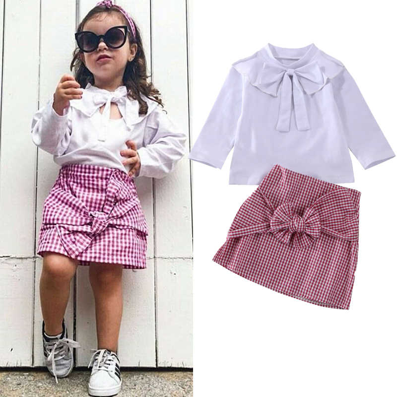 1-5Y Toddler Kid Baby Girl Clothes Sets Bownot White T-Shirt Tops+Plaid Skirt Outfits Autumn Clothes Sets