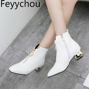 Image 1 - Women Boots Autumn Winter Med Heel Warm Pu Square Toe Zip Ankle Chelsea Martin Shoe 2018 New Sexy Fashion Casual Black Brown
