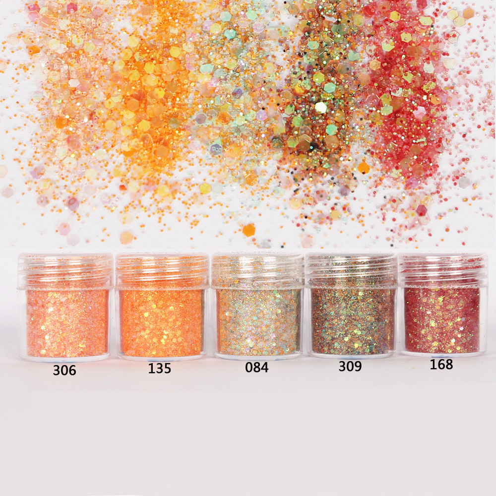 Orange Set Hexagon Glitter Bling Bling Filling Sequin Mix In For Resin Crafts Festive Jewelry Tools Uv Resin Pigment
