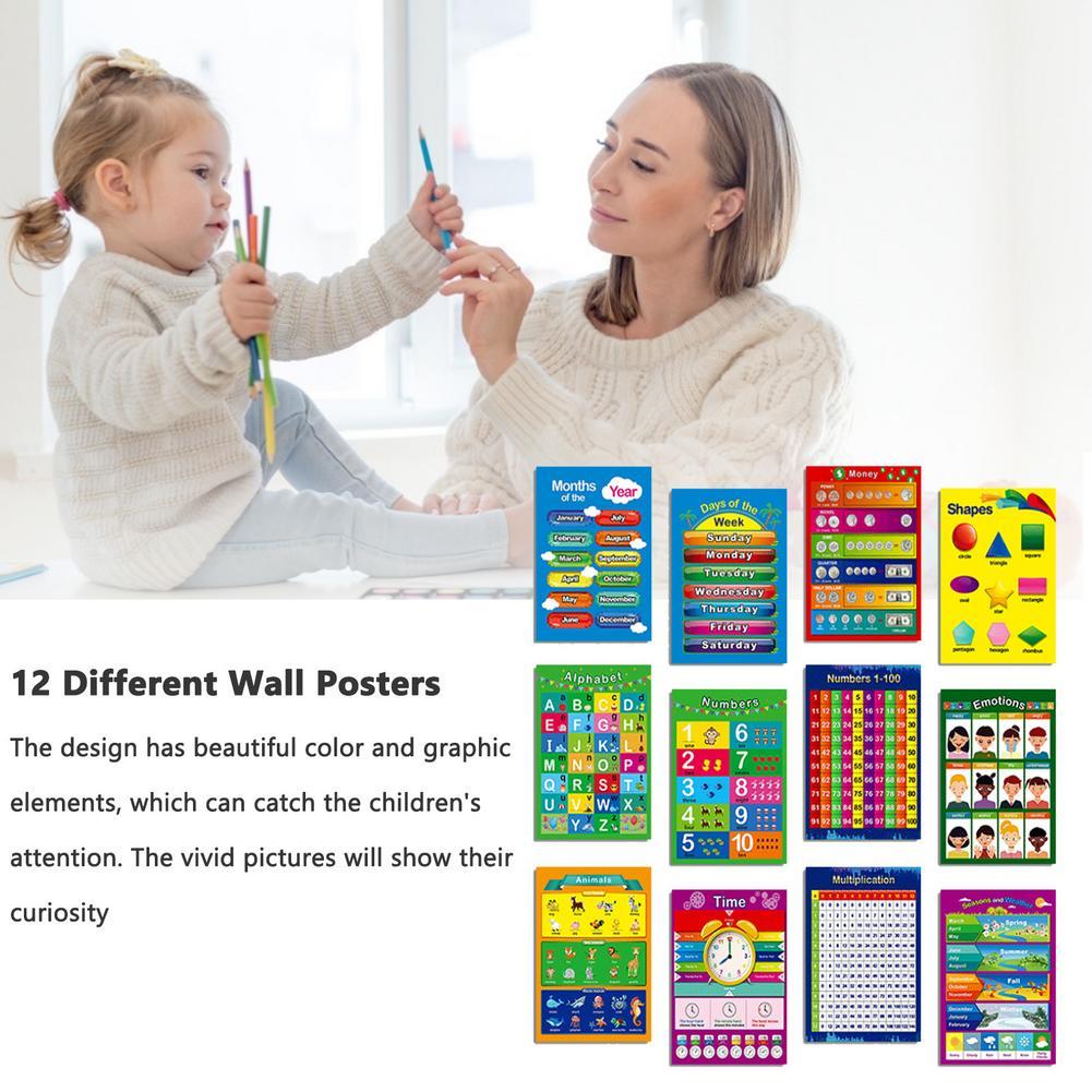 Children Education Poster Set Inspirational Teach Prop 12 Type Children's Education Posters UV Paper Alphabet Mathematics Color