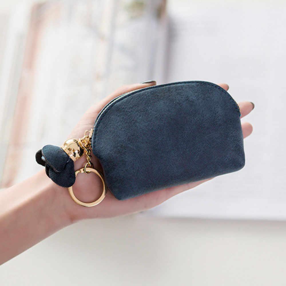 5S#Ladies Mini Wallet Card Key Holder Zip Coin Purse Floral Pendant Clutch Bag Small Handbag Bag Bolsa Feminina sac a main femme