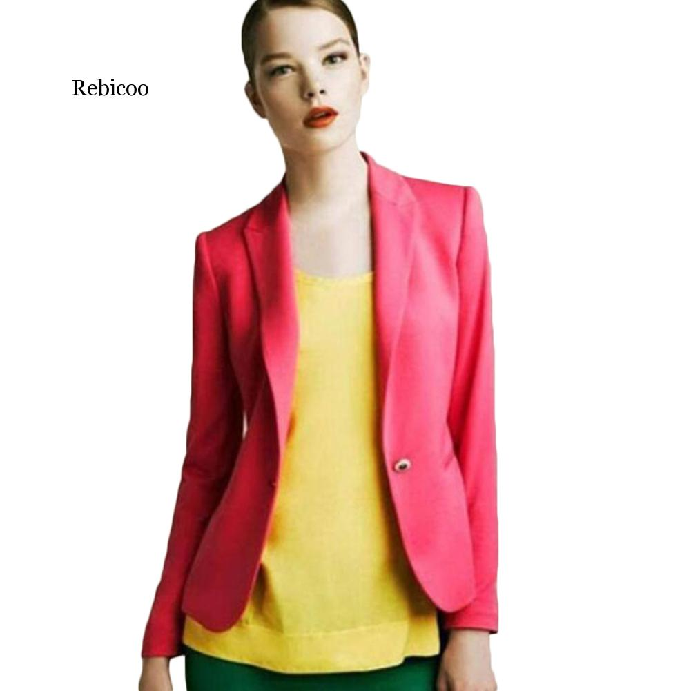 Slim Blazers Women Spring Autumn Suit Jacket Female Work Office Lady Suit Wear Black None Button Business Notched Blazer Coat