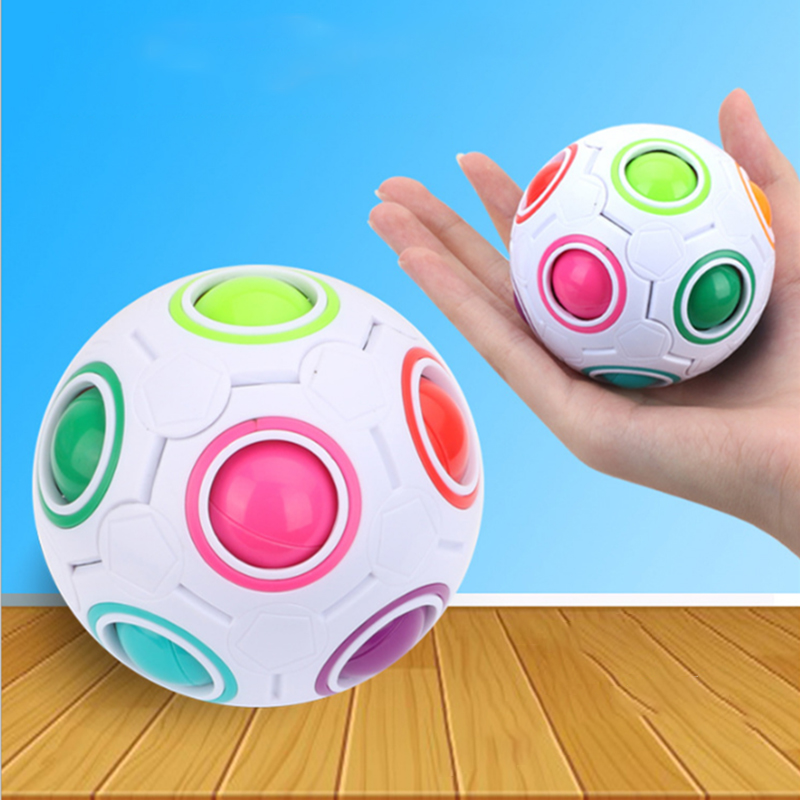 Magic Rainbow Puzzles Cube Creative Maze Toy Fidget Ball Autism Toys Funny Hand Game Anti Stress Brain Teaser Educational Toys