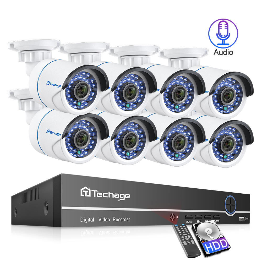 Techage 8CH POE 1080P IP Camera CCTV Security NVR System 2mp Audio Sound Surveillance Kit Outdoor HD P2P Home Video Set 2TB HDD
