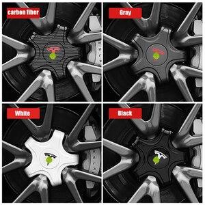 Image 5 - FCXvenle عجلة مركز قبعات ل تسلا نموذج 3 سيارة محور العجلة 5 مخلب واقية يغطي 4 قطعة تعديل السيارات اكسسوارات التصميم