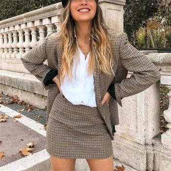 Ladies High-Waisted Skirt Blazers