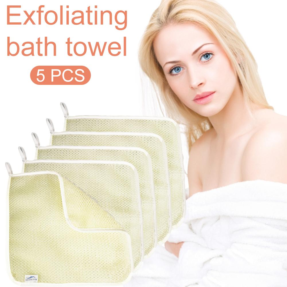 5PCS Exfoliating Scrub Mud Peeling Bath Towel Makeup Remover Dead Skin Removal Cleaning Towel Cloth Bath Mitten Skin Care Tools