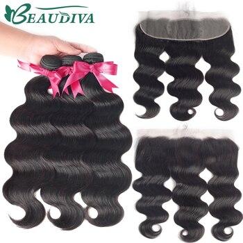 Beaudiva-extensions de cheveux Remy brésiliens, cheveux naturels, avec Lace Frontal, extensions de cheveux, Body Wave, lots de 2 3 4