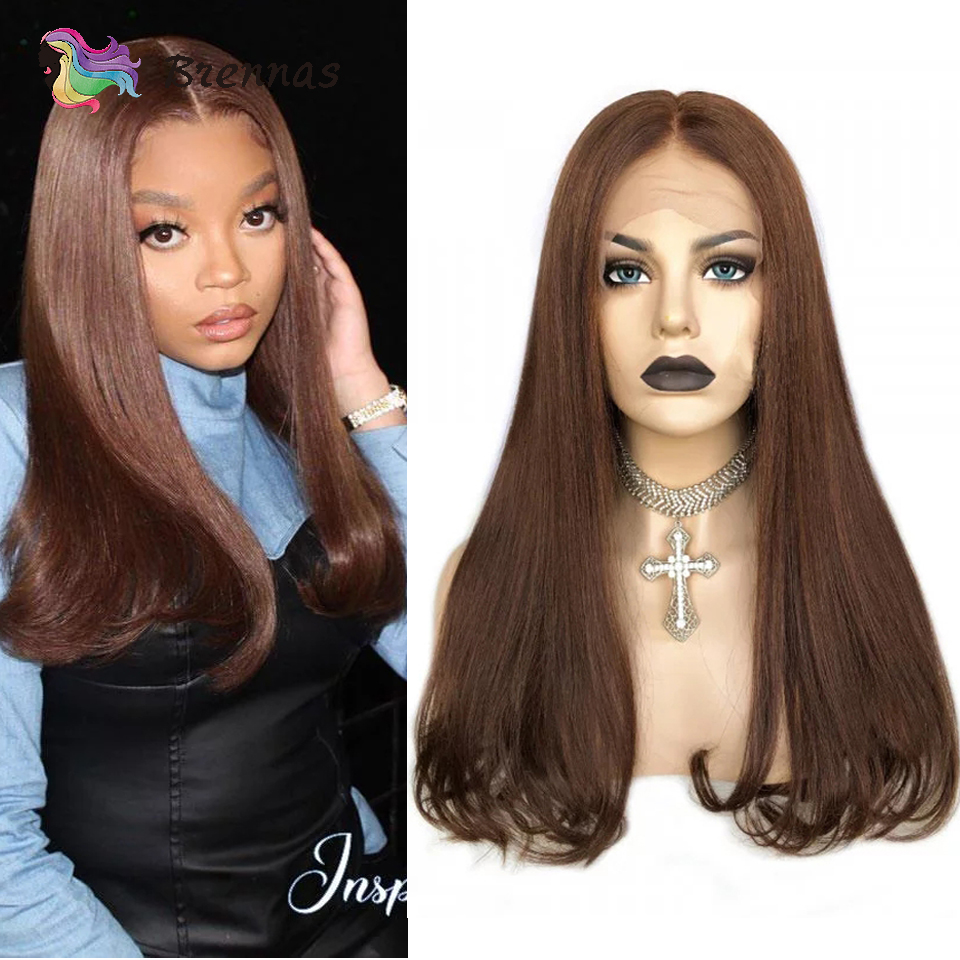 Brazilian Human Hair Lace Wig Straight Bob End Curl Lace Front Wig #4 Chestnut Brown Colored Wig Pre Plucked Lace Wig Non-Remy