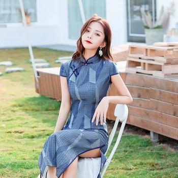 Daily Cheongsam 2020 New Fashion Retro Young Cheongsam Traditional Chinese Lady Long Silk Evening Dress Classic Modern Qipao