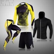 Vestito di inverno Per Gli Uomini 4 Pezzo Degli Uomini Biancheria Intima Termica Tuta Da Uomo MMA Biancheria Intima Termica Abbigliamento Rashgard kit Bodybuilding T-Shirt