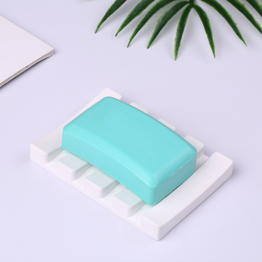 Absorbent Diatomite Soap Dish Soap Bar Holder Self-Dry Diatomaceous Earth Soap Saver Holding Coaster White