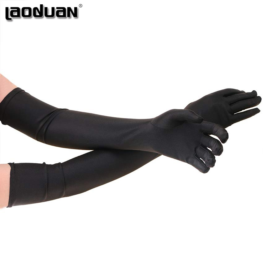 1 Pair Long Finger Elbow Sun Protection Gloves Opera Evening Party Prom Costume Fashion Gloves Black Red White