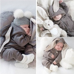 Ins baby new boys' solid color rabbit ear creeper coat baby autumn and winter Jumpsuit