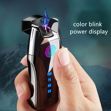Fingerprint USB Recharge Smoking Electric gift metal Lighter for boyfriend father girlfriend gift for christmas