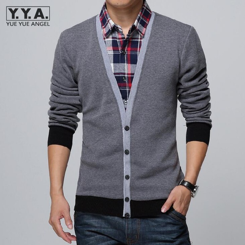 Men Faux Two Pieces Shirts Slim Fit Full Sleeve Mens Tops Plaid Single Breasted Shirts For Men Casual Comfort Knit Male Clothing