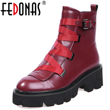 FEDONAS Top Quality Genuine Leather Women Metal Buckle Ankle Boots Winter Fashion Flats Platform Short Boots Dancing Shoes Woman