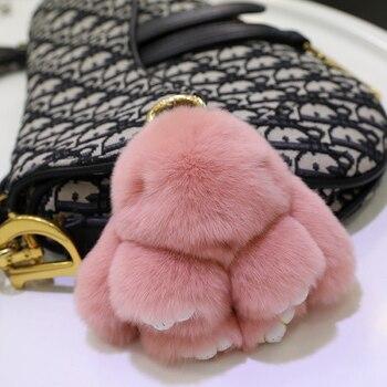 Mini ornament rabbit fur doll pendant bag super cute plush car key chain