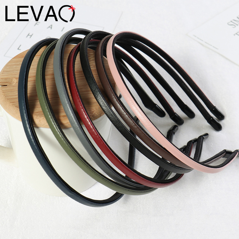 LEVAO Solid Female Synthetic Leather Bezel Headband Turban Hairband For Women Lady Hair Hoop Hair Accessories Headwear Elegant