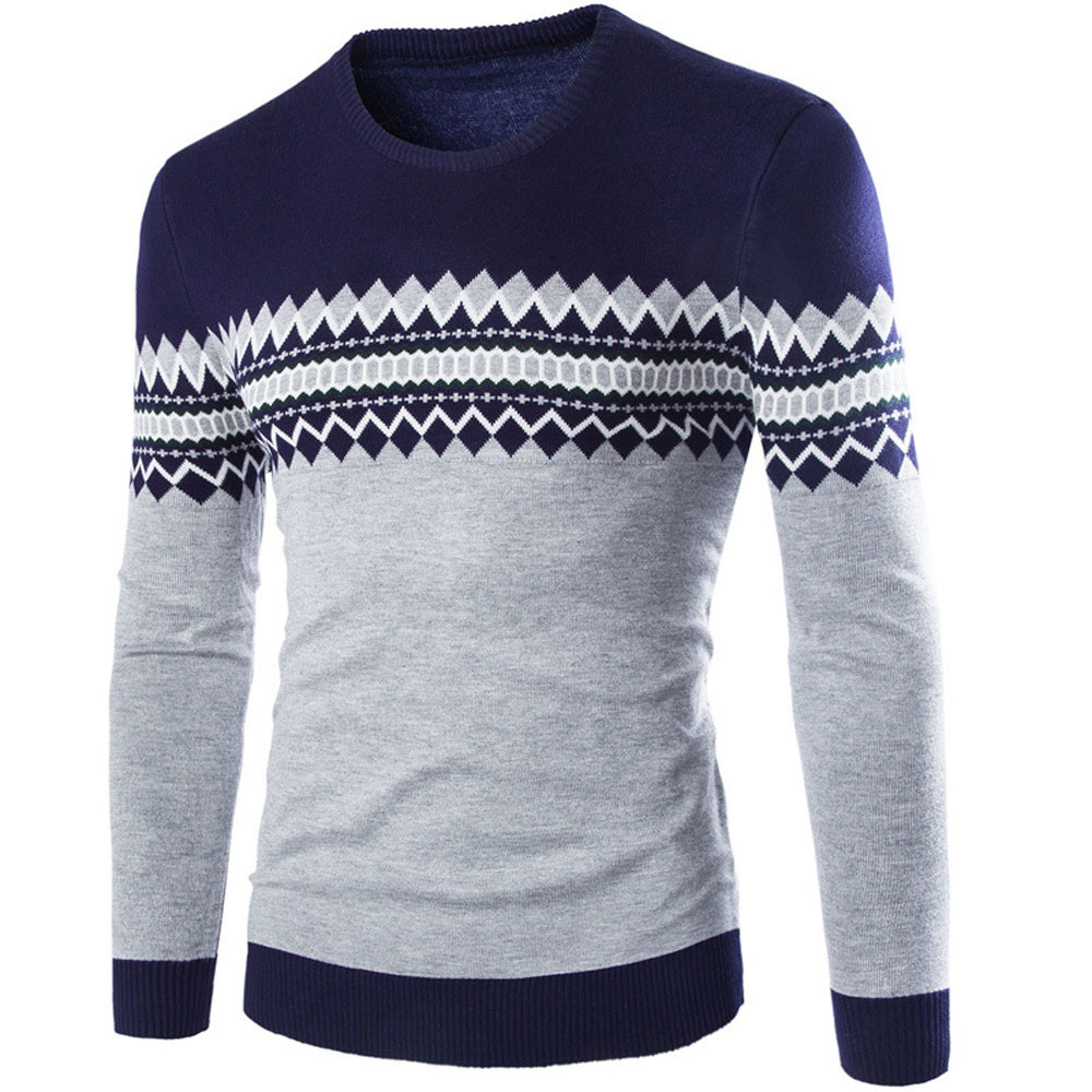 Womail Long Sleeve Knitted Sweaters Winter Casual Printing Knitted Sweaters Pullover Round Neck Pullover Casual Sweater Man