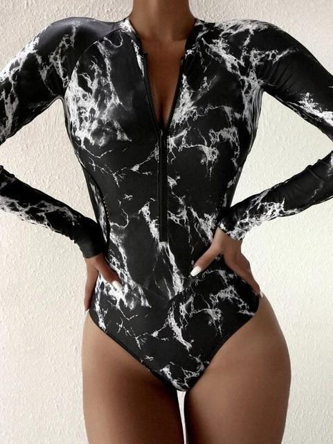 Summer Print Zipper One Piece Swimsuit Closed Long Sleeve Swimwear Sports Surfing Women s Swimming Bathing Suit Beach Bather