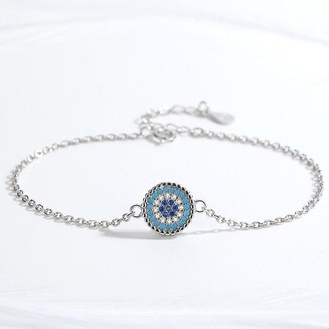 KALETINE Infinity 925 argent Sterling mauvais oeil collier Tennis Bracelet anneau bleu CZ luxe bijoux ensembles pour les femmes meilleurs cadeaux