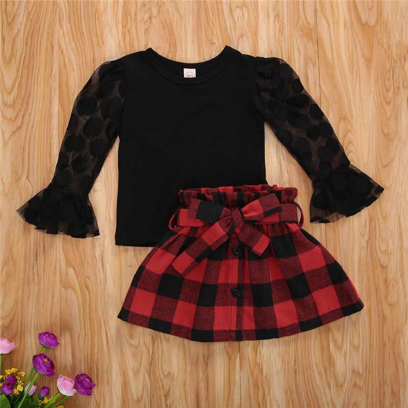 Moda jesień dzieci dziewczyny ubrania zestawy Polka Dot długi rękaw bufka Mesh t-shirty Plaid spódnice trapezowe dzieci dziewczyny zestawy wakacyjne