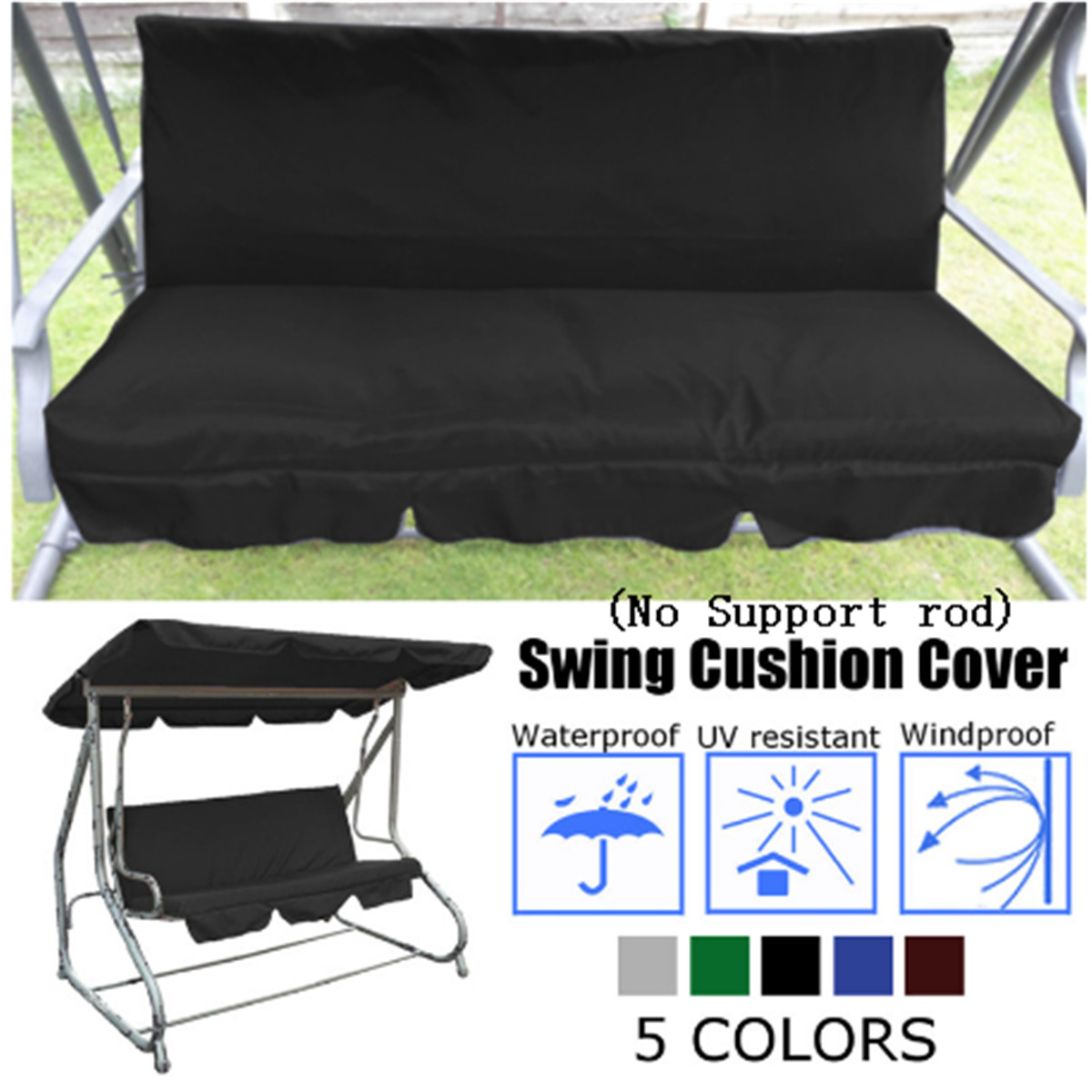 3 Seater Garden Swing Cushion 5 Colors Waterproof Dustproof Chair Replacement Canopy Spare Fabric Cover Dust Covers 150CM