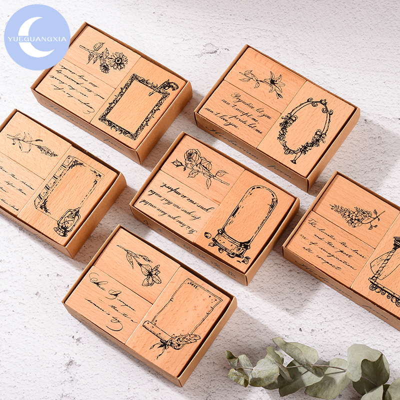 Mr.Paper Antique Medieval Flower Frame Inkpad Handmade DIY Craft Oil Based Inkpad Rubber Stamps Scrapbooking Inkpad 6 Designs