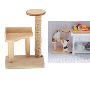 1PC 1:12 Pet Cat Tree Tower Toys For Dollhouse Miniature 1/12 Doll House Furniture Decor Accessories