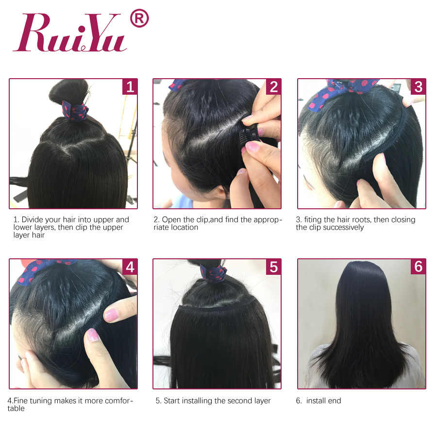 Clip recto brasileño en extensiones de cabello humano Remy Clip de cabello Natural Ins Clip de cabello humano en extensiones RUIYU cabello 10 -28 pulgadas