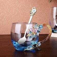 Эмалированная кофейная чашка кружка цветочный чай питьевая стеклянная чашка с ручкой для горячих и холодных напитков с крышкой и салфеткой для протирания подарков