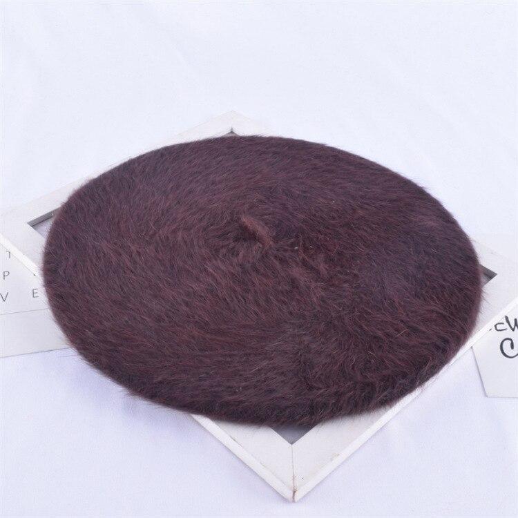 1 шт. женская элегантная разноцветная Шапка-берет из меха кролика - Цвет: coffee