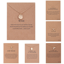 Fashion WISH Luck Gold Hope Flowers Sunflower Bird Leaves Metal Clavicle Bones Pendant Choker Necklace Jewelry Message Card