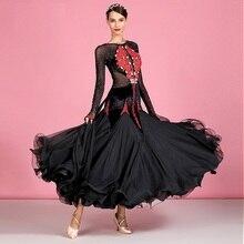 smooth ballroom dress woman dance dress standard ballroom dance wear viennese waltz dress luminous costumes black swing dress