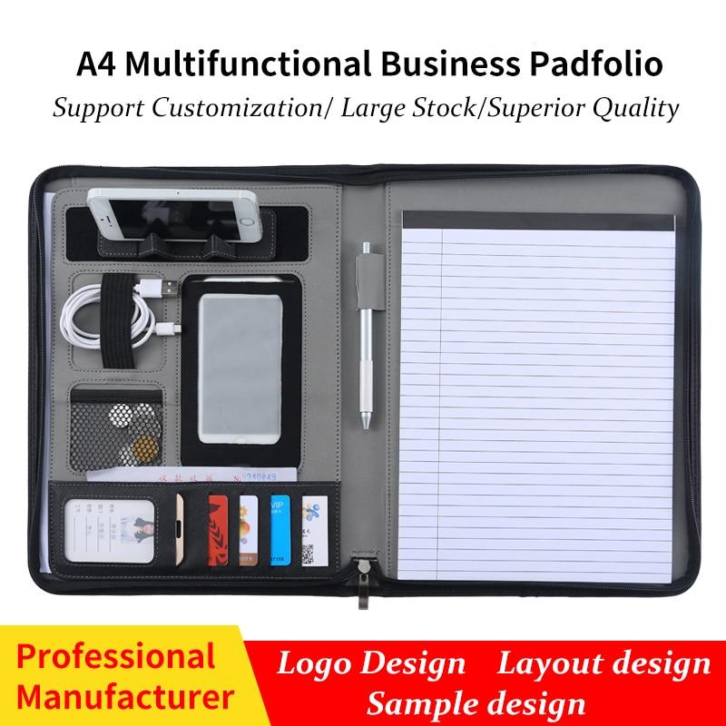 Custom A4 Zipper Document File Folder Padfolio PU Leather Conference Briefcase Manager Folder Portfolio With Telephone Holder