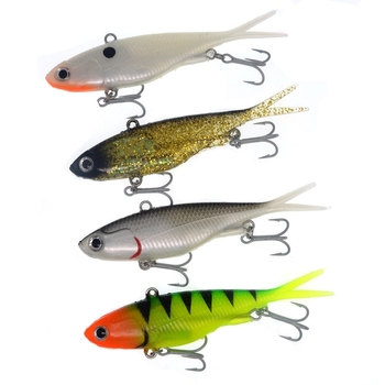 Fishing Lures 115mm 36g 3X VMC Hooks Soft Vibe Lures Rigged Soft Plastic Lure Vibration Bait south bend fishing lures baitholder hooks 10 pack size 2