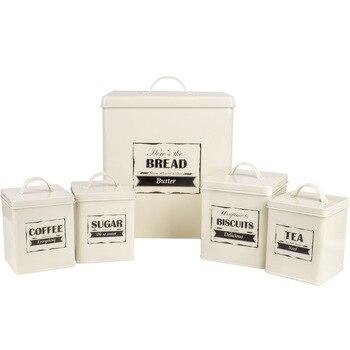 5 шт. в наборе, металлическая кухонная коробка для хранения печенья, сахара, чая, кофе, органайзер, контейнер с крышкой, закуски, напитки, еда,