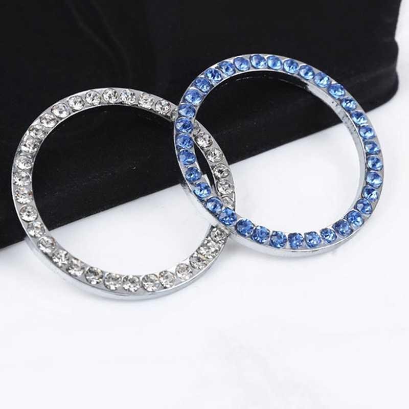 Autocollants cercle d'allumage en cristal | Fournitures de voiture, bouton de clé pour démarrer anneau décoratif ensemble de diamants fait à la main, accessoires de voiture