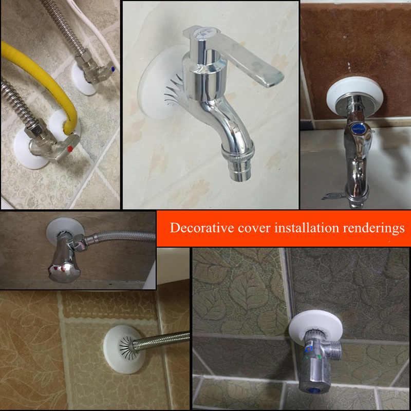 2 adet plastik duvar deliği kanal kapağı duş musluk açılı vana boru tapası dekorasyon kapak yapıştırma plakası mutfak musluk aksesuarları