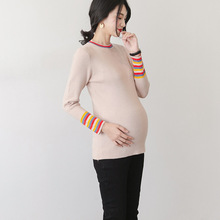 2020 Autumn Spring New Sweater Maternity Clothes Knitted Round Neck Pullover Long Sleeve Bottoming Top Close-Fitting Pregnancy