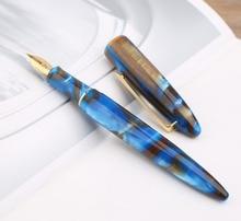 Moonman M100 Acrylic Resin Creative Fountain Pen Schmidt Converter and Fine Nib 0.5mm Ink Pen Gold Trim Writing Gift Pen A04