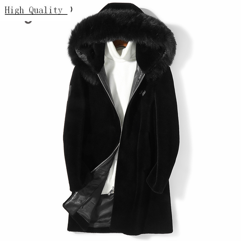 Winter Coat Men Fashion Thick Warm Real Fur Coat Large Fox Fur Hooded Clothes 2020 Long Sheep Shearling Jacket Hiver 7106